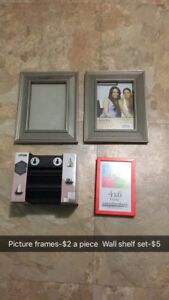 Picture frames and wall shelf set