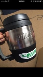 Used black and stainless steel 1.5L bubba keg cup