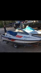 Pair of water crafts on double trailer