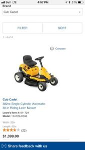 "Cub Cadet 30"" Riding Lawn Mower"