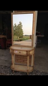 Entry hall table with mirror