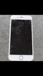 White 64GB iPhone 6 - broken screen/LCD