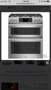 Like New Ge cafe gas range with double oven