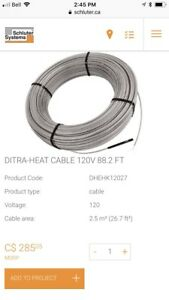 Ditra Heat Cable 26.7ft2 or 88 linear ft