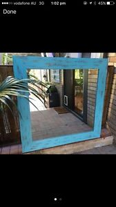 Blue distressed mirror Elanora Heights Pittwater Area Preview