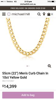 Mens gold chain for sale brand new valued at over$$ 14,000