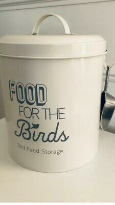 Bird Food Storage Grey Metal Bin With Scoop Garden Birds