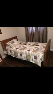 Pine wood twin bed and book shelf