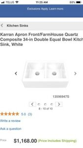 Karran Apron Front Sink. Brand new. White, Quartz.
