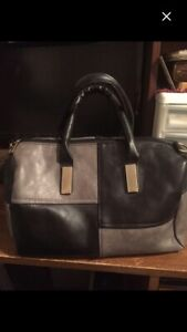 Black and gray patch purse