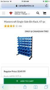 Mastercraft 47 bin storage rack