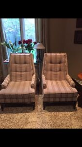 2 Tufted high back chairs and ottoman