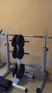 Barbell with weight plates Belrose Warringah Area Preview