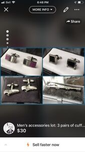 Men's accessories lot: 3 pairs of cuff links, 1 tie clip.