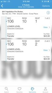 2 Lower Level Rodeo Tickets for Sat Nov 25