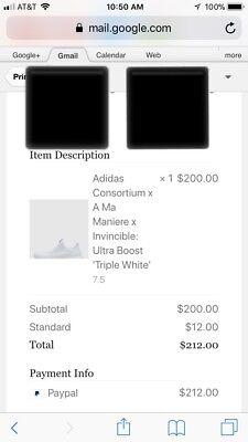 Adidas Consortium x A Ma Maniere x Invincible Ultra Boost Triple White Size 7.5