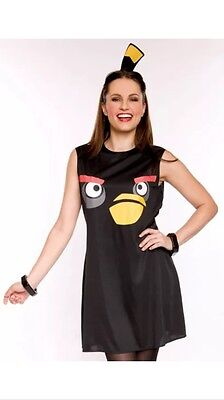 H1) Angry Birds Sassy Black Bird Fancy Dress Costume - Womens Medium - Angry Birds Black Bird Kostüm