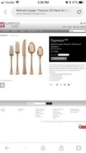 40 piece Hampton copper flatware! Like new used for staging