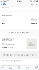 Triple White Yeezy Boost -size 7.5 (men) 9 (women)