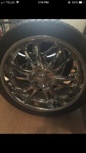 "24"" boss rims and tires in excellent condition"