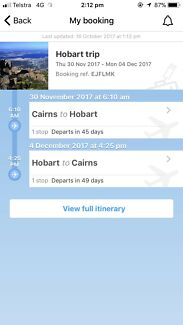 Plane Tickets from Cairns to Hobart and Returns