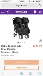 Good used condition black double city mini stroller