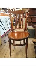 Antique 1910's Canadian Timber Spindle Engraved Bentwood Chair Farm Queenstown Port Adelaide Area Preview