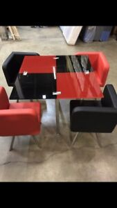 NEW 5 Piece Red/Black Dining Table