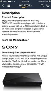 Sony BlueRay player with WiFi Cambridge Kitchener Area image 5