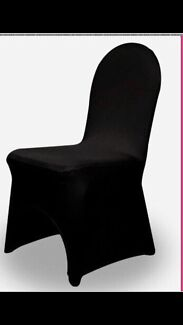 Black Lycra chair cover hire $1.20