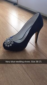 Wedding shoes-navy. Size 7