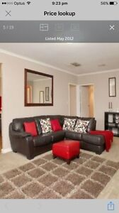Brown leather lounge Glandore Marion Area Preview