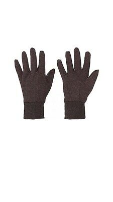 12 Pairs Gloves Jersey Safety Brown Cotton Work Gloves Large