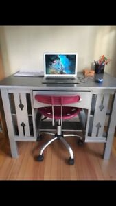 Vintage Hand made Desk (w/ chair and plastic desk mat)
