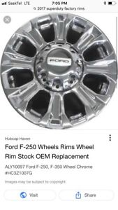 """4-2017 superduty 18""""-8 bolt rims, used tires to go with"""