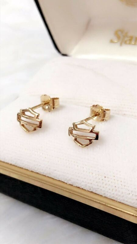 NEW NOS Harley Davidson Stud Earrings Solid 14k Yellow Gold Stamper Bar Shield