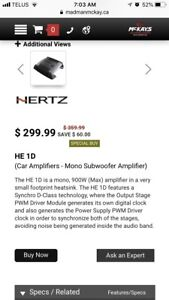 Two 300w hertz subwoofers and amp and wiring