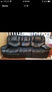 Rocking recliner couch and loveseat