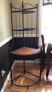Wood/wrought iron corner bakers rack