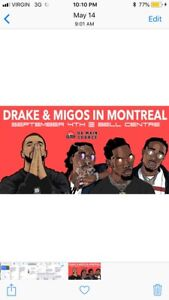 Drake's + Migos Floor ticket Montreal Sept 4TH