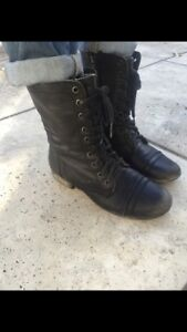 Steve Madden real leather military boots