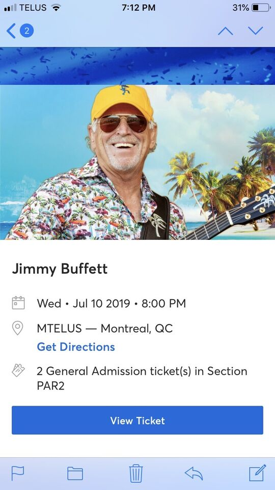 Jimmy Buffett - $250 two tickets for Montreal July 10th