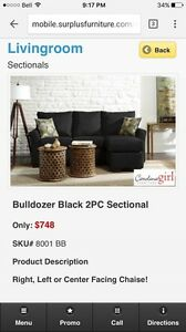Black Microsuade sectional SOLD PPU