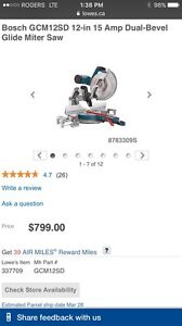 "Bosch 12"" Dual Bevel Mitre Saw, 15 Amp"