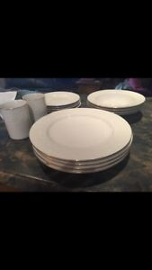 Gold rimmed, white dishes