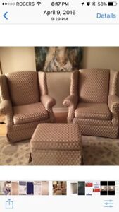 Gold colour reading chairs and ottoman