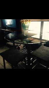Glass pub style table and stools