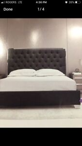 NIB king size bed with grey fabric frame and headboard