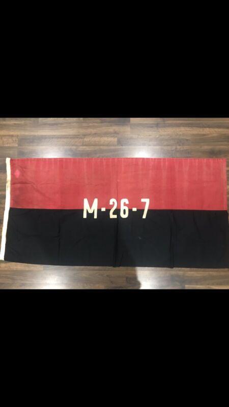 1959 XXL original M26-7 Flag Cuba Used In battle. FIdel Castro/che Guevara