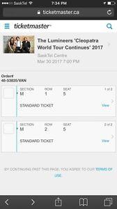 2 Lumineers Tickets Saskatoon!